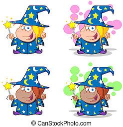 mago, ragazza, ondeggiare, con, bacchetta magica