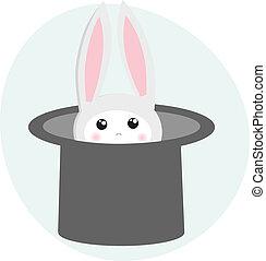 mago, sombrero, conejo, icono