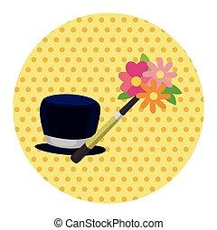 mago, sombrero, tema, elementos