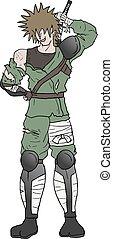magoado, samurai, ilustração