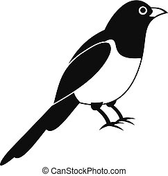 Magpie bird icon, simple style - Magpie bird icon. Simple...