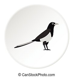 Magpie icon, flat style