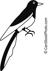 Magpie icon, simple style - Magpie icon. Simple illustration...