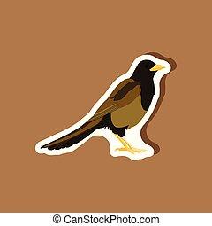 magpie paper sticker on stylish background