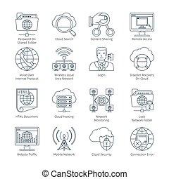 magra, internet, linha, rede, ícones