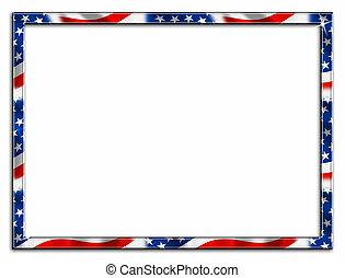 magra, patriótico, borda, quadro