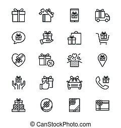 magra, presente, ícones