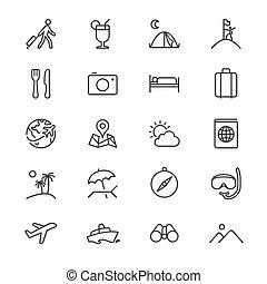 magra, viajando, ícones