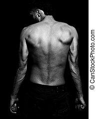 magro, ajustar, homem, com, muscular, costas