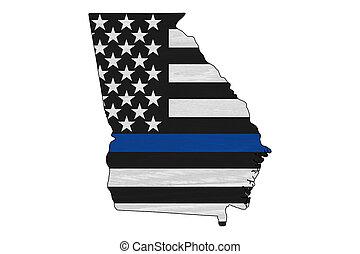 magro, americano, linea, mappa georgia, bandiera, blu