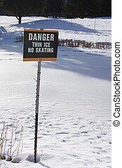 magro, ghiaccio, pericolo