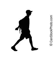magro, giovane, backpacker, uomo cammina, silhouette