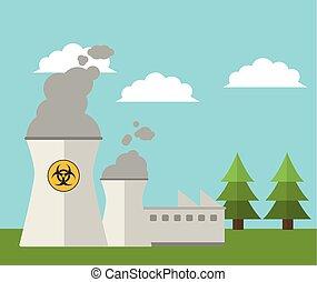 magt, atomisk plant, energi, landskab