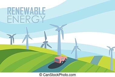 magt, banner., generation, energi, udskiftelig, vind