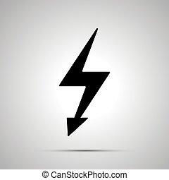 magt, el, symbol, enkel, sort, ikon