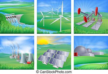 magt energi, kilder