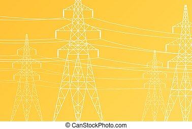 magt, høj, vektor, grid, spændingen, beklæde