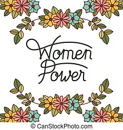 magt, iconerne, ramme, etikette, blomster, kvinder