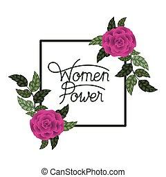 magt, iconerne, ramme, etikette, roser, kvinder