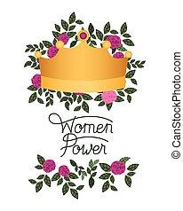 magt, isoleret, etikette, roser, ikon, kvinder