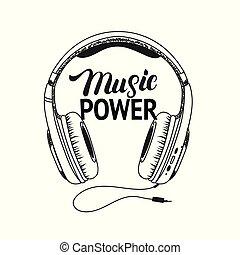 magt, tee, hovedtelefon, skriv, musik, hånd, lettering., print.