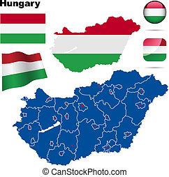 magyarország, vektor, set.