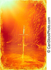 Magyc sword in lake, old photo effect. - Magyc sword in lake...