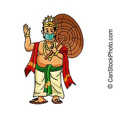 Mahabali also known maveli wearing a medical mask on his face