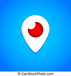 Mahachkala, Russia - October 2, 2016. Periscope app for video chat logo vector illustration on blue background