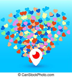 Mahachkala, Russia - October 2, 2016. Periscope app for video chat logo with hearts vector illustration on blue background