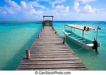 mahahual, playa de caribbean, en, costa, maya