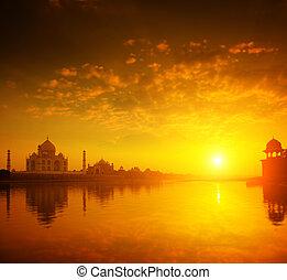 mahal, インド, 日没, taj, agra