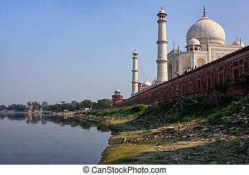 mahal, agra, uttar, vista, pradesh, yamuna, taj, río, india