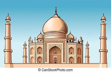 mahal, -, ilustración, famoso, vector, lugar, asia, taj