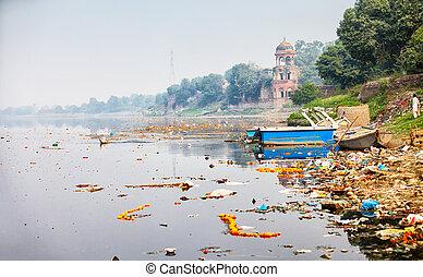 mahal., india, banco, río yamuna, taj, agra