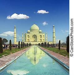 mahal, -, india, famoso, taj, mausoleo