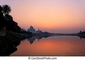 mahal, india, reflejado, ocaso, agra, río yamuna, taj