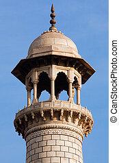 mahal, indien, uttar pradesh, minarett, taj, agra