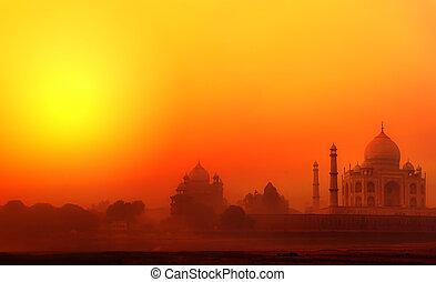 mahal, pałac, india., fotografia, tajmahal, indianin, zachód słońca, świątynia, taj