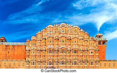 mahal, palacio, famoso, jaipur., india, hawa, vientos, señal...