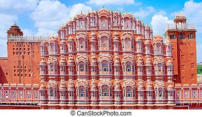 mahal, palacio, jaipur, hawa, rajasthan, winds), (palace
