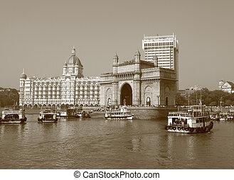 mahal, palacio, mumbai, hotel, india, famoso, puerta, taj