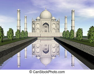 mahal, render, india, -, agra, mausoleo, taj, 3d