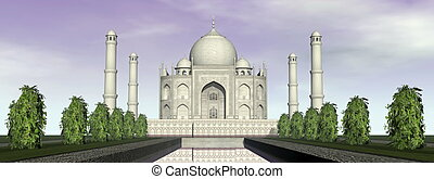 mahal, render, india, -, agra, mausoleo, taj, 3d