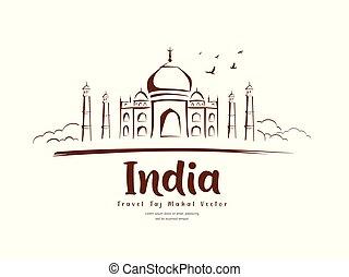 mahal, viaje, india, el bosquejar, vector, taj