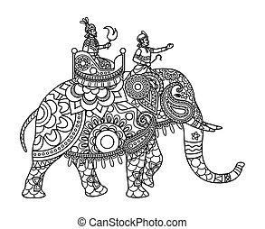 maharajah, ページ, 着色, インドの象
