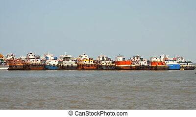 commercial fishing boats based at p - Maharashtra, India -...