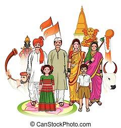 Maharashtrian family showing culture of Maharashtra, India