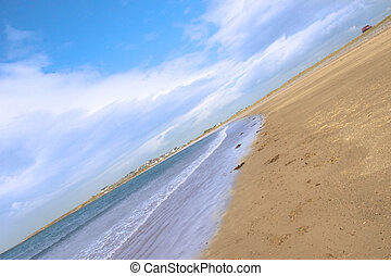 maharees golden beach coast - golden beach with blue sky and...