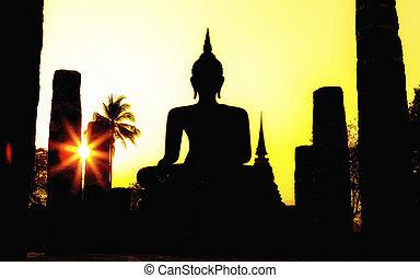 mahathat, 像, 寺院, 公園, 仏, 歴史的, スコータイ, タイ, ワット, 州